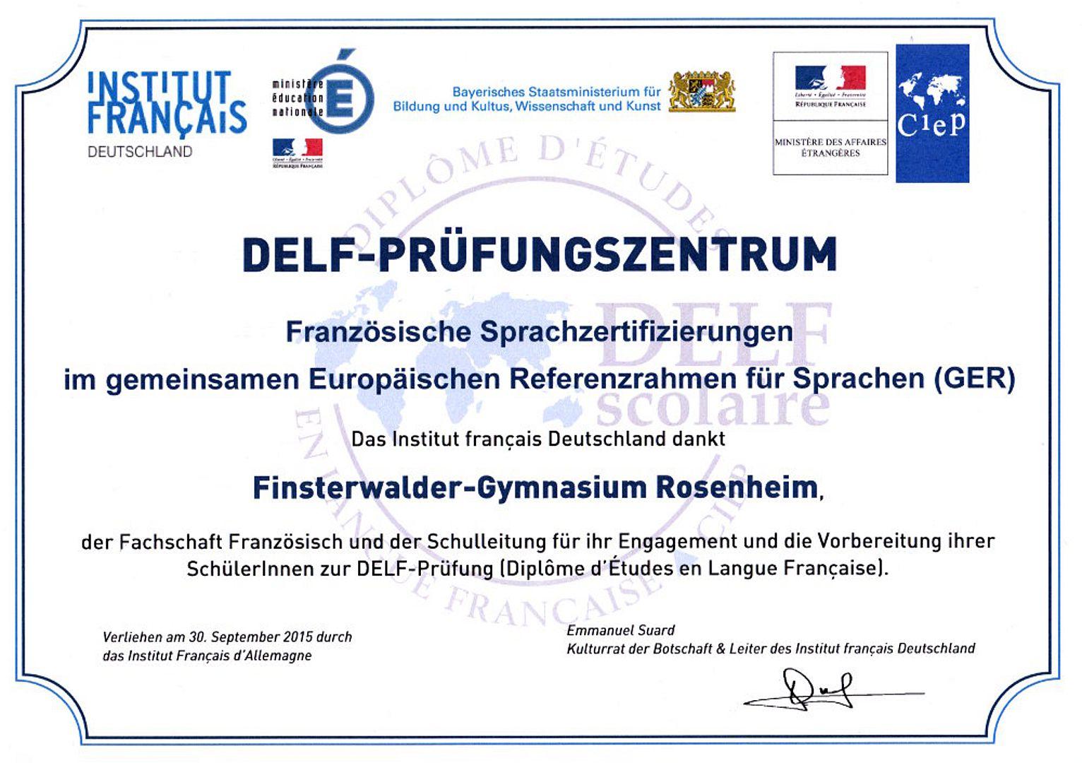 Sprachzertifikat Delf Sebastian Finsterwalder Gymnasium Rosenheim